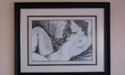 Beskrywing Black and white nude sketch framed
