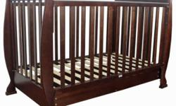 Baby cot,,hardly used..dark wood..incl mattress Asking