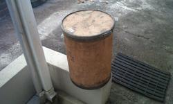 1 x small round wooden drum with lid. Size: 50 cm high.