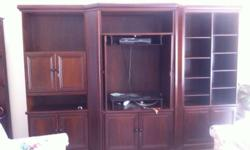 3 piece (interlocking) solid imbuia wood wall unit and
