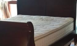 Queen size bed + seally mattress+ base. Good cond.