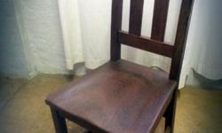Set of 5 school-style antique wooden chairs, used