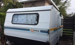 A Sprite caravan with 2 x double beds and a Hammock &