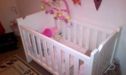 Beautiful big white wooden cot for sale. In very good