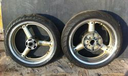 Suzuki Hayabusa 1300 Gold polished Rims & Tyres in very