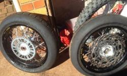Selling motard black Excel rims with Michelin tyres