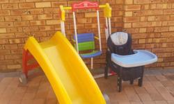 Swing , slide and eating chair for sale plus bottle