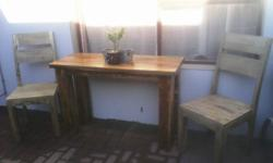 This table and 2 chairs for resale, heavy wood organic