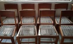 8 Teak chairs for sale. Completely restored including