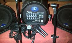 GREAT DEAL THREE PIECE SPEAKER SET WITH MICROPHONES,
