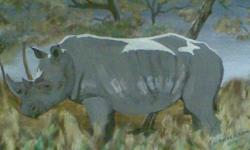 Beskrywing Acrylic rhino painting on canvas.