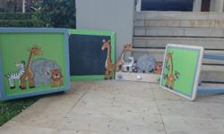 Toy box, chalk board, towel hook & side table - animal