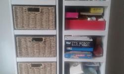 Solid Wood  & Basket Toy Storage and Bookcase in same