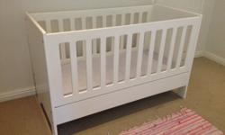 Good condition white treehouse cot WITH MATTRESS for