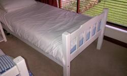 Two sugar shoe beds including almost new mattress on