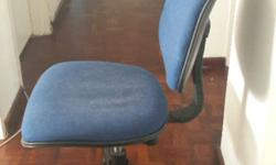 Blue and black swivel typist chair. Good condition.