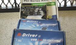 USB to IDE Cable x2 and PCI Series Adapter x2 all for a