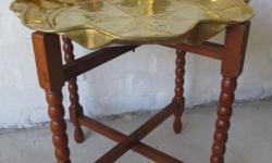 Very nice copper tray with teak stand for sale in very