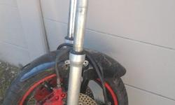 FORKS, FRONT RIM, TYRE, DISCS, CALIPERS, MUDGUARD FOR