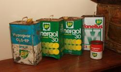 4 Vintage BP oil cans. Selling as is, so please have a