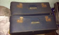 3 blue old suitcases for sale. Would suit a collector,
