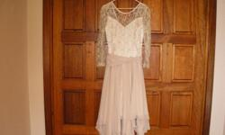 Wedding dress, cream lace and chiffon