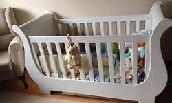 White Treehouse Sleigh Cot & Compactum for sale. The