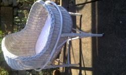 Genuine 40 year old wicker Moses basket on stand with