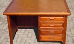 A Wood & Leather Drawing desk  L-122cm, W-91cm,