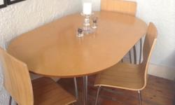 Light wood oval table with silver aluminum detachable