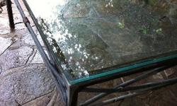 WROUGHT IRON AND GLASS COFFEE TABLE SUITABLE FOR