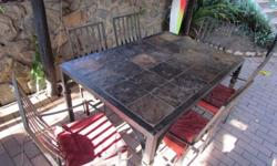 Brushed Bronze Wrought Iron Slate table with 6 arm