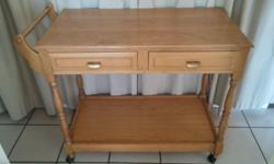 Yellow Wood Furniture Set (Tea Trolley, Coffee Table &