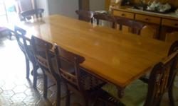 Yellow Wood and Imboya dining room set for sale. 1 - 12