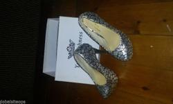 Your Highness sliver and black high heels size 39(5 and