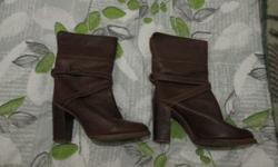 Zodiac brown leather high heeled  boots made in the USA