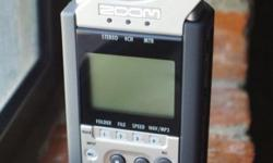 Zoom H4n handy recorder with a Samson Pro lav mic. The